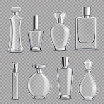 Perfume glass bottles realistic transparent
