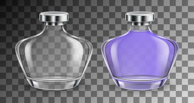 Perfume glass empty and full bottles in realistic style