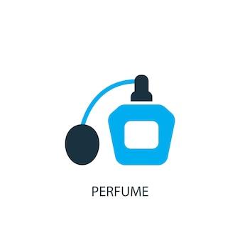 Значок духов. иллюстрация элемента логотипа. дизайн парфюмерного символа из 2-х цветной коллекции. простая концепция парфюмерии. может использоваться в интернете и на мобильных устройствах.
