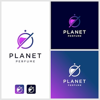 Perfume logo design with planet outline, unique, modern premium