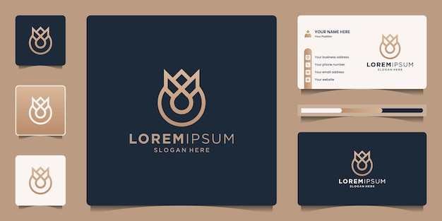 Perfume logo with crown and drop logo design with business card template