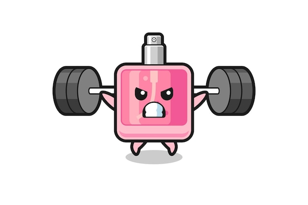 Perfume mascot cartoon with a barbell , cute style design for t shirt, sticker, logo element