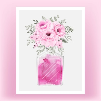 Perfume rose pink peony watercolor illustration