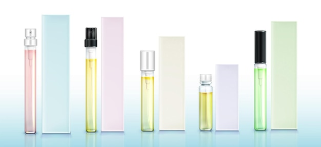 Perfume sample bottles and boxes set