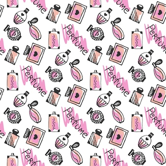 Perfume seamless pattern. doodle sketch of perfume bottles in pink colors on white background. vector