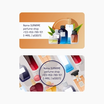 Perfume shop set of business card. different shapes and colors of bottles for man and woman. store contact information.