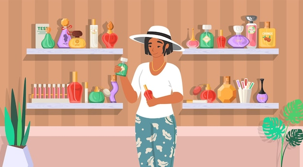 Perfume shop. woman with perfume bottles, flat  illustration. perfumery, department store with fragrance products.