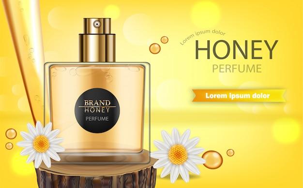 Perfume spray bottle with honey fragrance banner