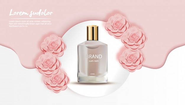 Perfume with peach flower white wave and circle background-flower paper cut banner