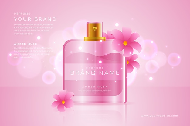 Perfume with pink flowers cosmetic ad
