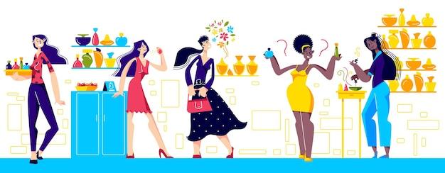 Интерьер магазина парфюмерии: женщины выбирают новый аромат, продают аромат и создают новый аромат. концепция красоты, моды и роскоши. векторные иллюстрации шаржа