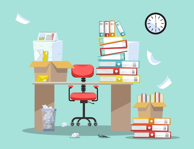 Period of accountants and financier reports submission. office chair behind table with piles of paper documents and file folders in cardboard boxes on office table
