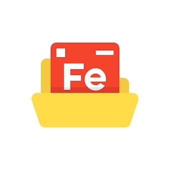 노란색 폴더가 있는 주기율표 상징입니다. 화합물의 개념, 창의적인 응용, 우주 연구, 독특한 공식, 자연. 흰색 배경에 평면 스타일 현대 로고 디자인 벡터 일러스트 레이 션