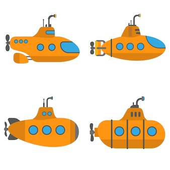 Periscope submarine set, flat style