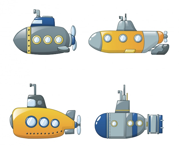 Periscope telescope icons set