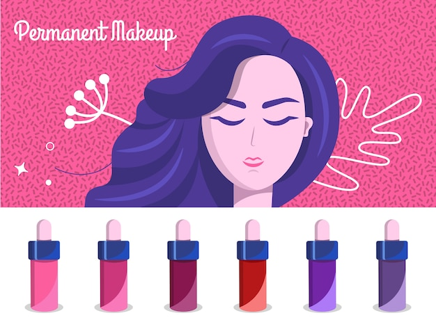 Permanent makeup illustration backdrop