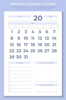 퍼페추얼 캘린더/플래너. 숫자 위에 필요한 요일과 이번 달의 목표 및 메모를 입력합니다. 무한 템플릿입니다.