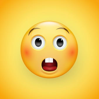 Perplexed sad face of emoticons with a slight frown and neutral eyes on a yellow background. sad man. expression of sadness, fear, surprise.