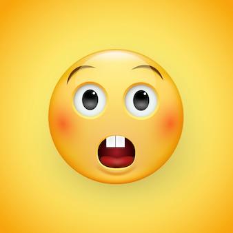 노란색 배경에 약간 찡그림과 중립적 인 눈을 가진 이모티콘의 당황한 슬픈 얼굴. 슬픈 남자. 슬픔, 두려움, 놀라움의 표현.