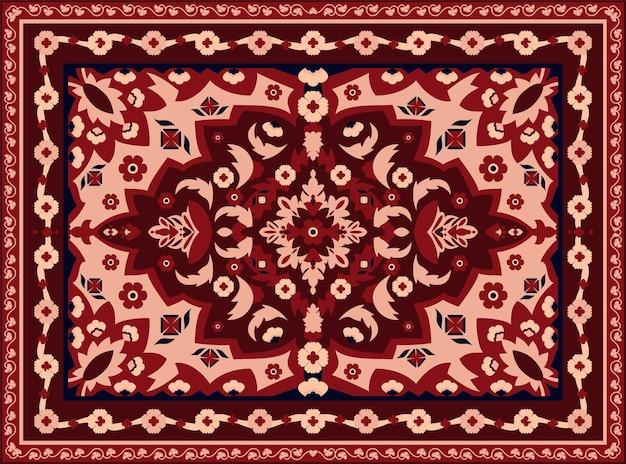 ペルシャ絨毯。インドの敷物とアラベスクの抽象的なボーダーテクスチャ、インテリアフロアファブリックのヴィンテージ東部の幾何学模様。ベクトル高級幾何学的なテクスチャ装飾ヴィンテージモザイク