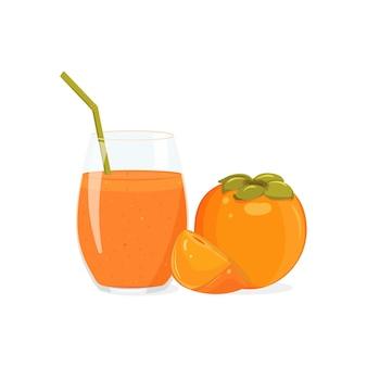 Хурма, стакан смузи с трубочкой. апельсиновый сок в стеклянном сиакане с фруктами.