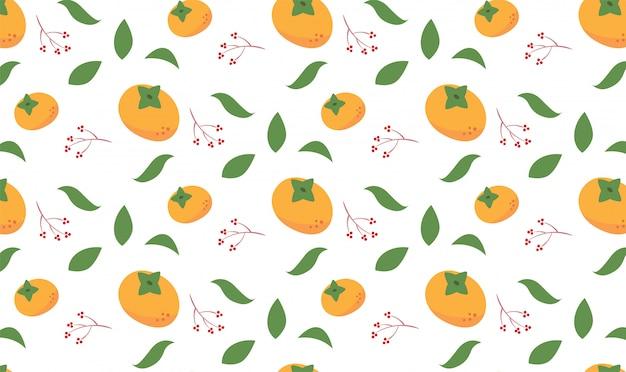 Persimmon orange autumn season seamless pattern
