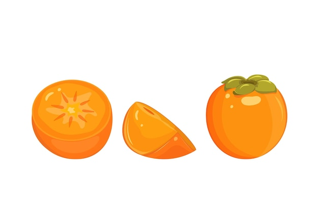 Persimmon whole, half, cutaway, isolated on white background