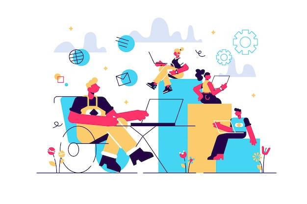 Адаптация человека с инвалидностью. рабочее место в офисе, зона коворкинга. работа для инвалидов, работа для людей с ограниченными возможностями, мы нанимаем всех людей концепции. яркие яркие фиолетовые изолированные иллюстрации