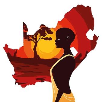 南アフリカのイラストの地図とアフロの人