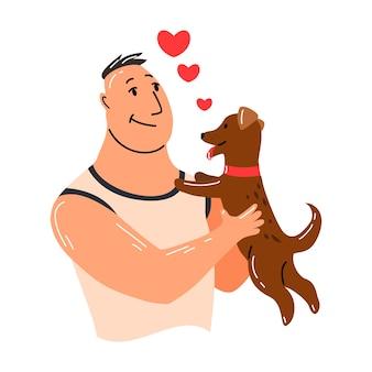 사람과 애완 동물. 개 애완 동물 소유자 캐릭터. 그의 개를 손에 들고 남자입니다. 남자는 그의 동물을 사랑합니다. 귀엽고 사랑스러운 가축.