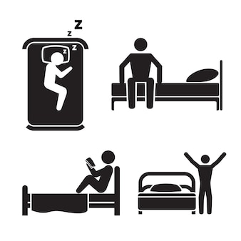 Person in bed, illustration set