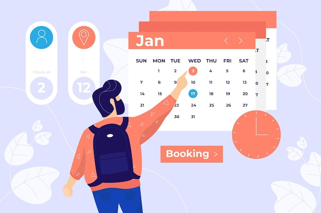 Person booking a meeting with time and place