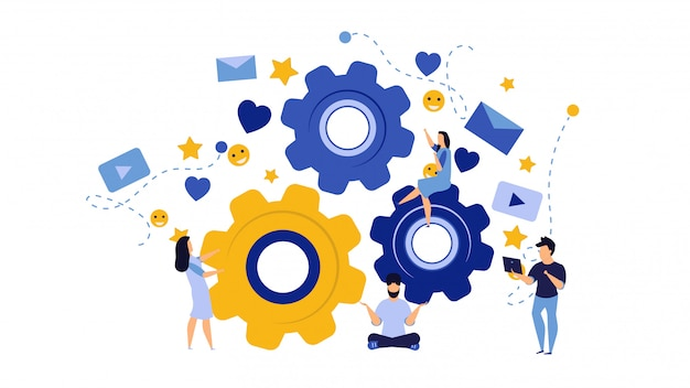 Person business team work concept illustration with cogwheel design.