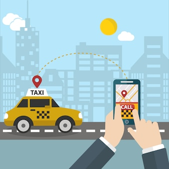 Person calling a taxi background