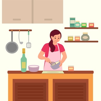 Person cooking illustration