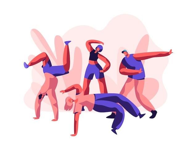 ブレイクダンスフリースタイルパーティーを踊る人。若者のティーンエイジャーの人々は柔軟でアクロバティックです。アクティビティライフスタイル、ストリートダンスと音楽のためのクールなエクストリームスポーツ。フラット漫画ベクトルイラスト