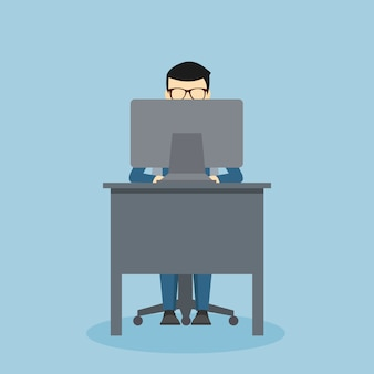 Person design on a desk in front of your computer