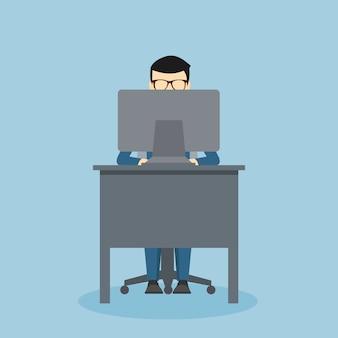 컴퓨터 앞 책상에 사람 디자인