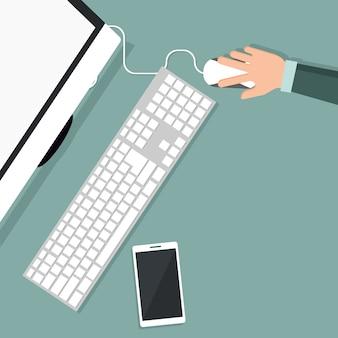 평면도에서 컴퓨터에서 작업하는 사람 디자인