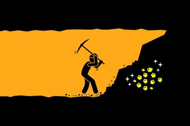 Человек копает и добывает золото. концепция тяжелой работы, успеха, достижений и открытий.