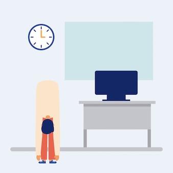 オフィスでアクティブな休憩をしている人、フラットスタイル
