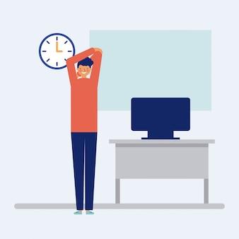 Человек делает активный перерыв в офисе, плоский стиль