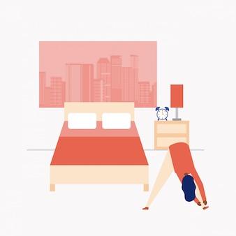 Человек делает упражнения в своей спальне, плоский стиль