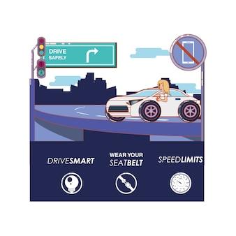 Человек, вождение для водителя безопасно
