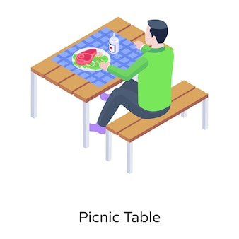 Person eating outside isometric icon of picnic table