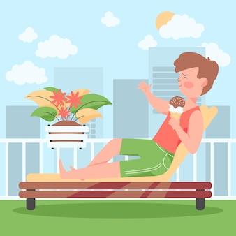 Человек, наслаждающийся отдыхом на террасе на крыше
