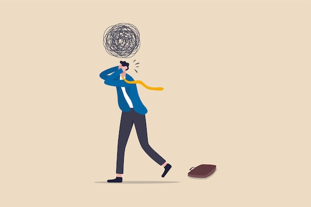 Person exhausted from overworked and too many problems illustration