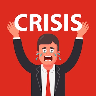 Person experiences tremendous pressure on himself because of the crisis illustration