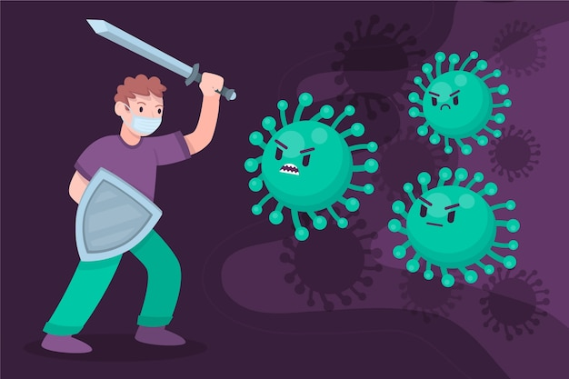 示されているウイルスと戦う人
