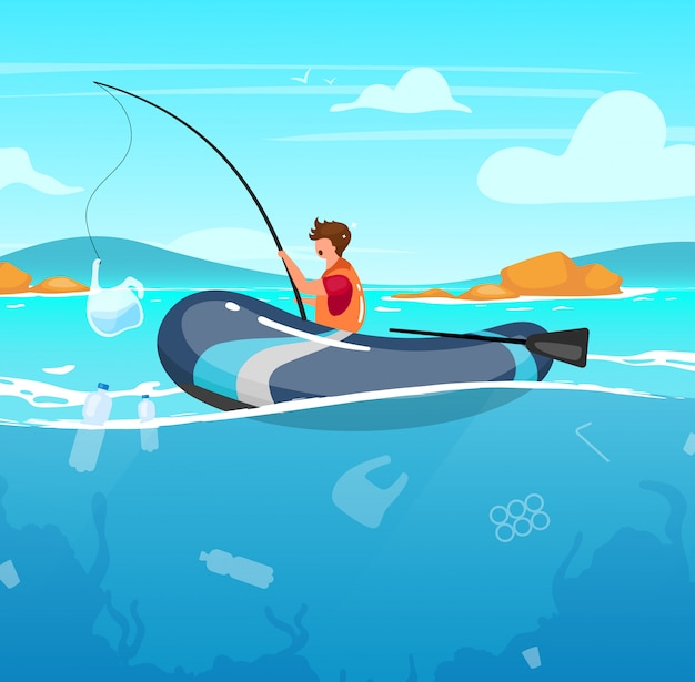 Person fishing in sea full of garbage   illustration. junk in water. nature damage. ecological catastrophe. ocean pollution. fisherman with plastic package on rod cartoon character